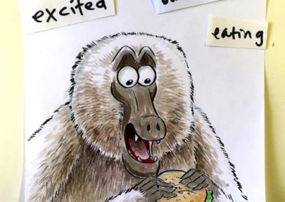 Excited Baboon Eating